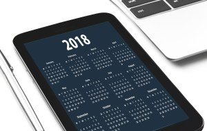 2018 calendar on phone screen