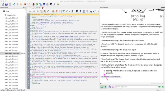 three panels on a computer screen showing a list of html files, html code with a problem area circled, and the preview of the ebook page with the resulting problem pointed out