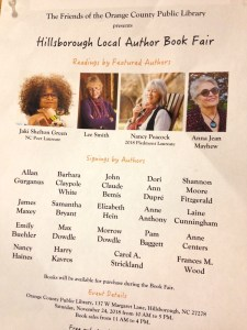 poster for book fair with four author photos plus a list of names