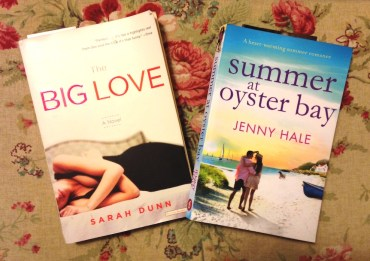 the covers of the two books mentioned in the text; The Big Love has a woman lying on a bad; Summer at Oyster Bay has a couple walking on a beach
