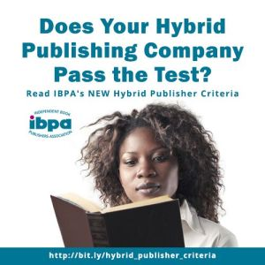 "poster with woman reading, says ""Does your hybrid publishing company pass the test?"""