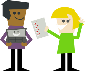 two cartoon people holding a laptop and a checklist with boxes checked