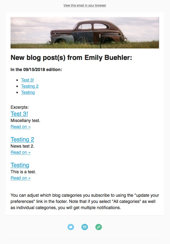 screenshot showing preview of email including all blog categories