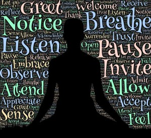 silhouette of person meditating, surrounded by words like Notice, Listen, and Breathe