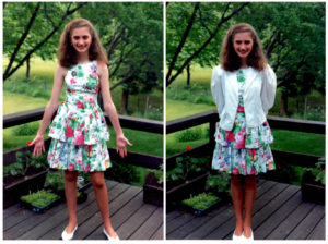 Emily in a flowered dress on a deck, with and without a white jacket