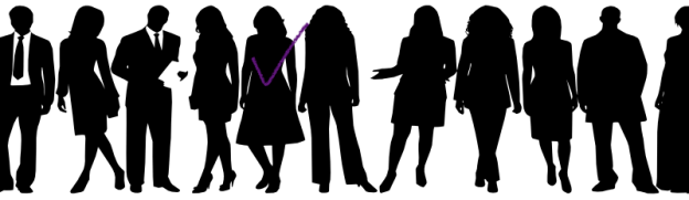 row of silhouettes of people, including people in suits and dresses, with one person highlighted with a checkmark