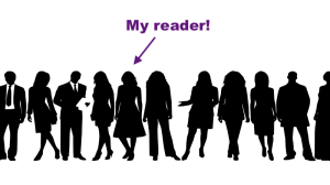 "row of silhouettes of people, including people in suits and dresses, with one person highlighted with an arrow and the words ""My reader!"""