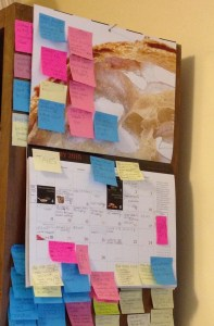 calendar covered with post-it notes
