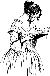 a drawing of a woman in an old-fashioned dress reading a book