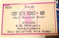 ticket for the Cody Nite Rodeo, $15