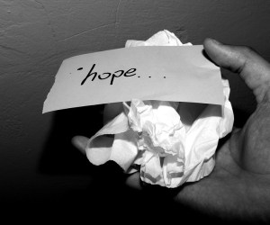 crumpled paper with the word hope
