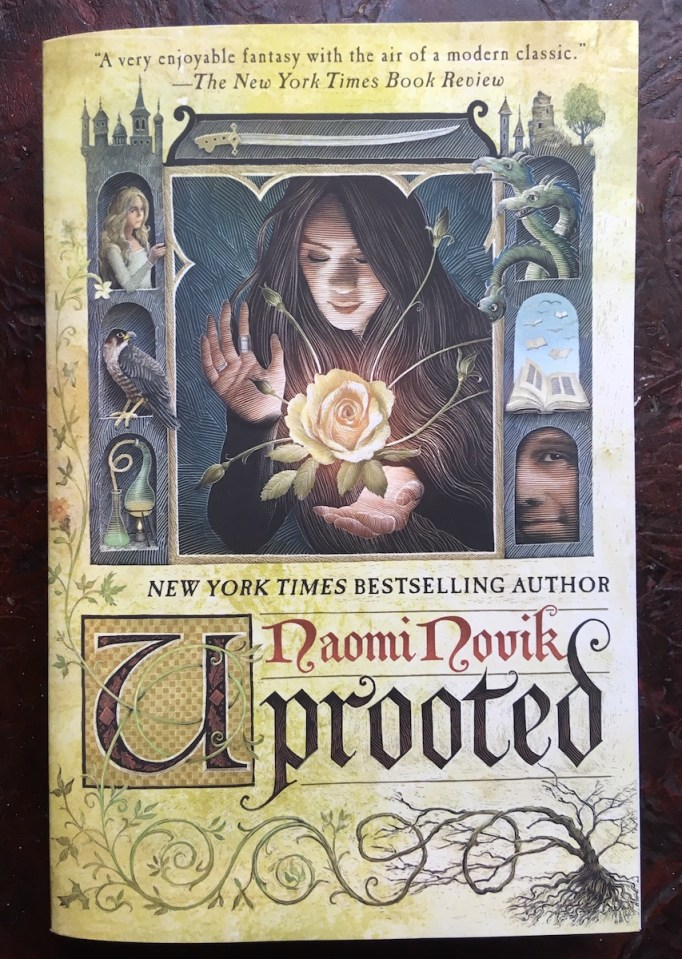 cover of Naomi Novik book, Uprooted, showing woman holding glowing flower, surrounded by castles, vines, animals, and other people