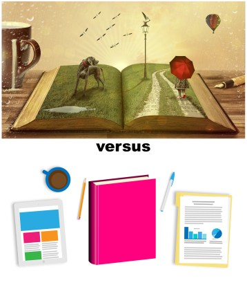 two images, one is a desk with a book with grass, a dog, and a child popping out of it, versus a desk with a cartoon book and financial spreadsheets