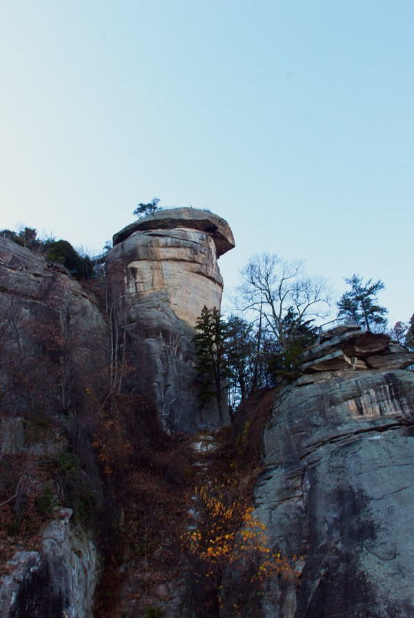 Looking up a Chimney Rock