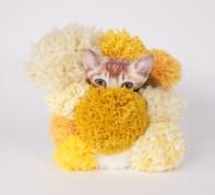 "Popcorn Cat - 8"" x 8"", fabric and yarn on canvas, 2017"