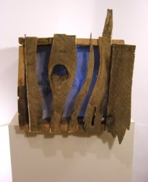 """Deep Woods (sound activated light box) - 13"""" x 9"""" x 10"""", wood, circuits, LEDs, fabric, 2010"""