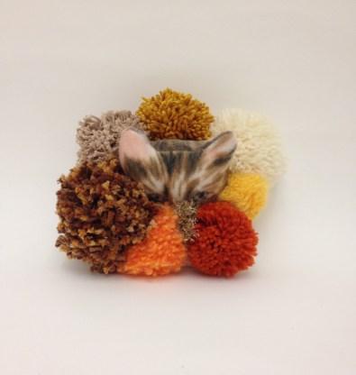 "SOLD! Pom Pom Cat George - 6"" x 6"", fabric and yarn on canvas, 2015"