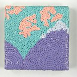 """SOLD! For Purple Mountain's Majesty - 6"""" x 6"""", sequins on canvas, 2010"""