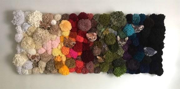 "Chroma Cat- 24"" x 60"", fabric and yarn on canvas, 2017"