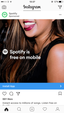 Spotify Sponsored Instagram Advert