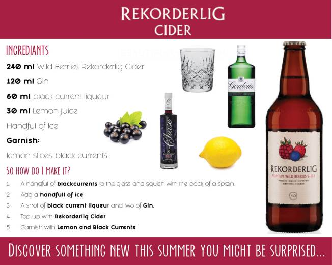 Rekorderlig Discover Something New This Summer POS Recipe Card - Back Ingredient list