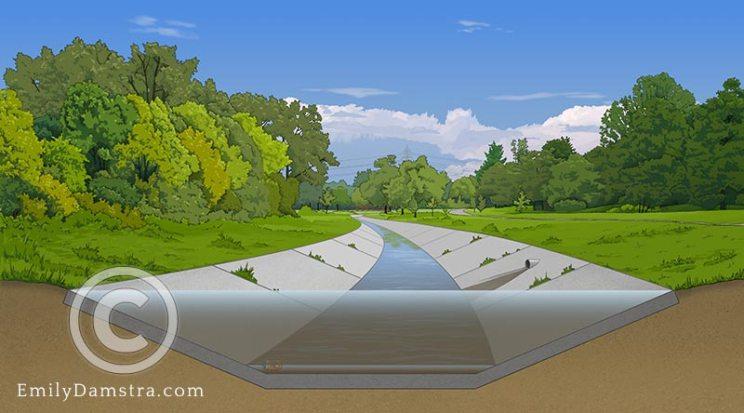 stream restoration illustration before