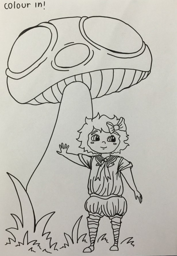 A picture of Lucy for the little ones to colour in, this is before it was scanned and edited ready for copying