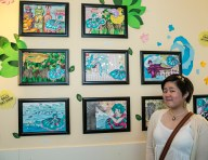 Myself with my artwork selected for SACE Artshow