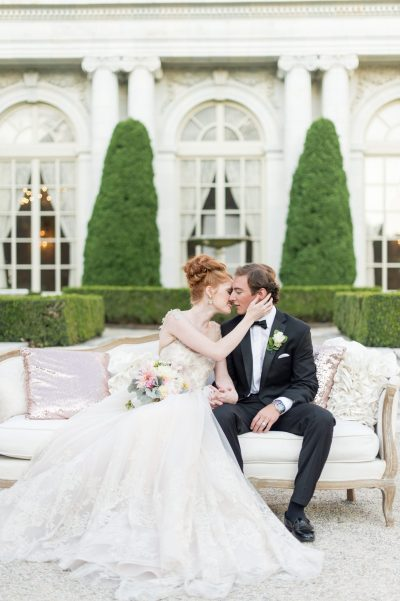 Bride and Groom at Rosecliff in Newport Rhode Island