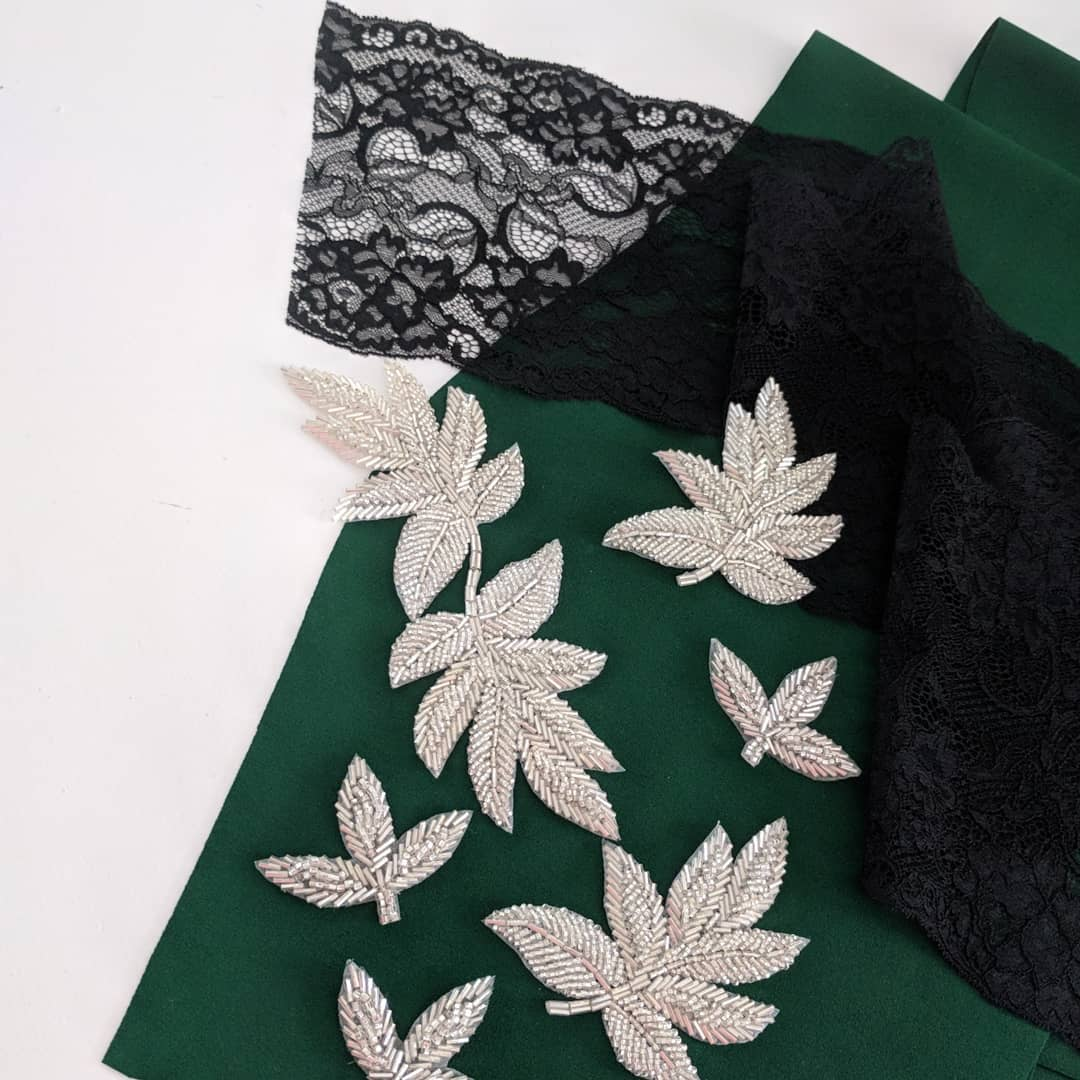 Weekend sewing plans black scalloped lace sparkly leaves emerald andhellip