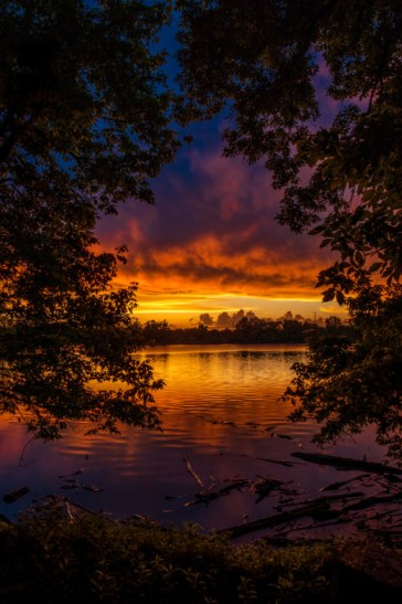 "May 28-One of my favorite shots all year. This sunset at Creve Coeur Lake won me first in a local photo contest themed ""Primary Colors"""