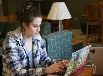 Gabrielle Bird studies for her classes, Saxe/Celani lobby, on the campus of Central Michigan University, on the campus of Central Michigan University, Monday, February 27, 2017.