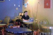 Central Michigan University graduate student Kevin Stier types a paper for one of his remaining classes at Kaya's new location.