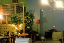 A separation wall is provided to allow customers to feel secluded while they work or simply enjoy a cup of coffee.