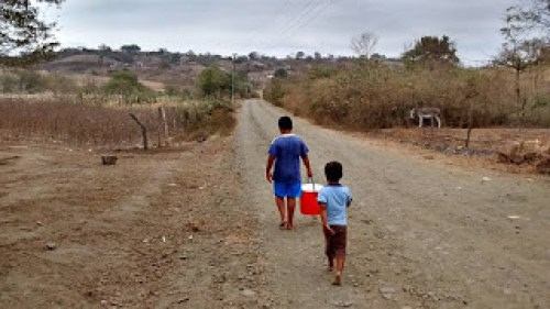 Two boys bringing water filtration bucket home