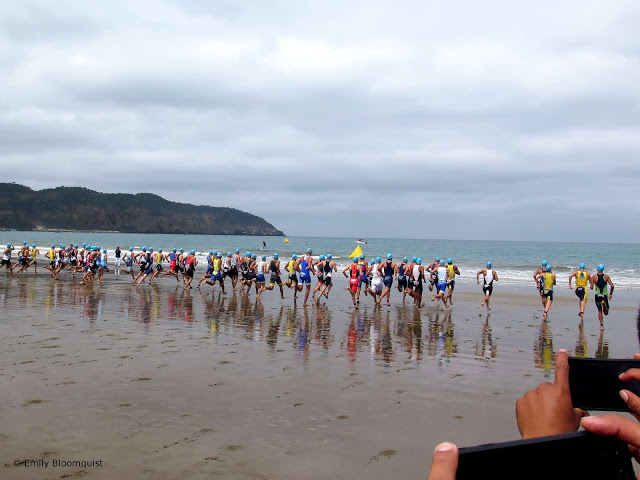 Triathlon start in Puerto Lopez, Ecuador