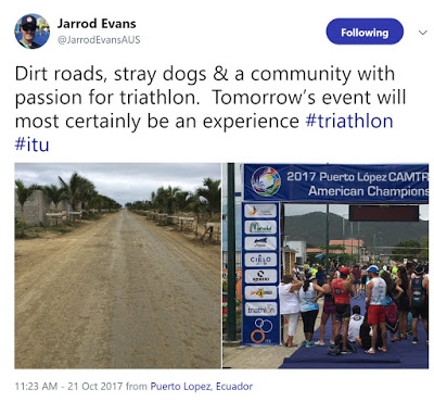 Tweet about Puerto Lopez triathlon conditions