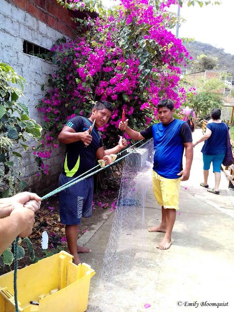 Fishing net artisans working in Puerto Lopez, Ecuador