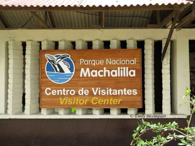 Ecuador's Machalilla National Park Visitor Center sign
