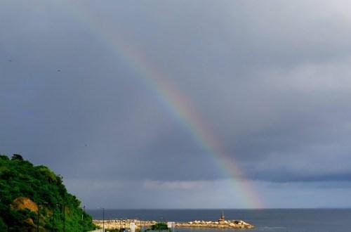 Puerto Lopez sunrise rainbow