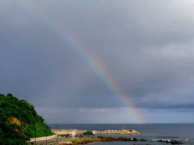 Rainbow over Pacific in Puerto Lopez