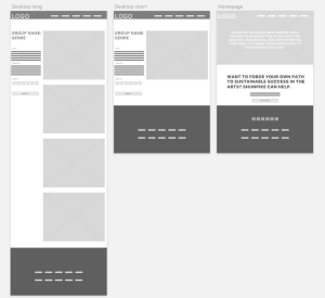 Black and white artist page wireframes in Sketch