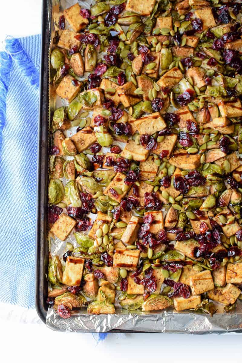 Sheet Pan Garlic Tofu & Brussels Sprouts from Emily Kyle Nutrition