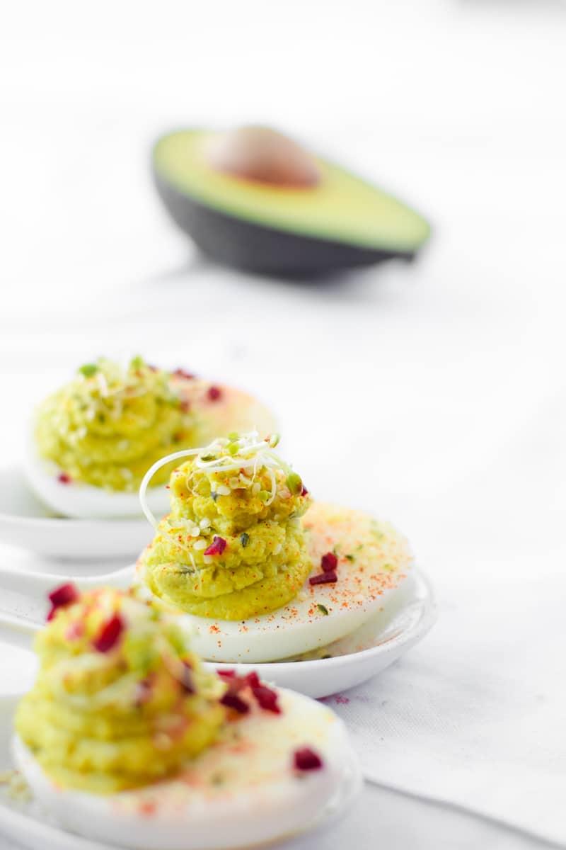 Avocado & Hemp Deviled Eggs by Emily Kyle Nutrition