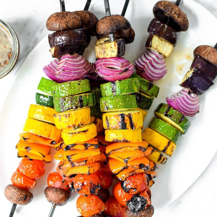 Rainbow Grilled Vegan Veggie Kebabs by Emily Kyle Nutrition