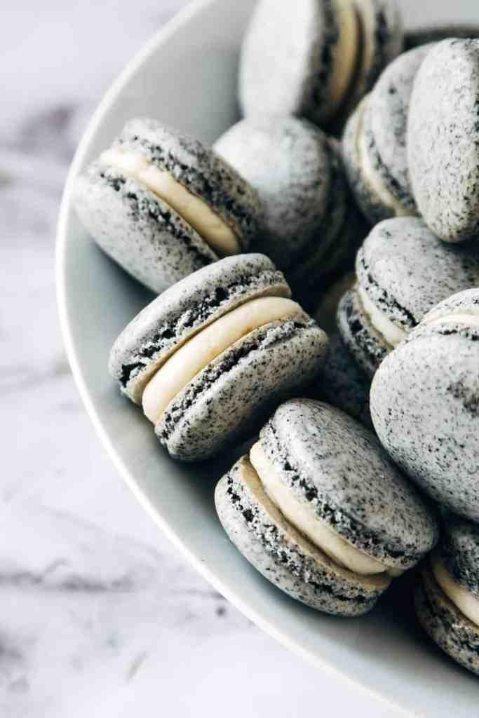 Black Sesame & Apricot Macarons