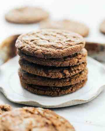 Chewy Molasses Cookies with Candied Ginger Stack
