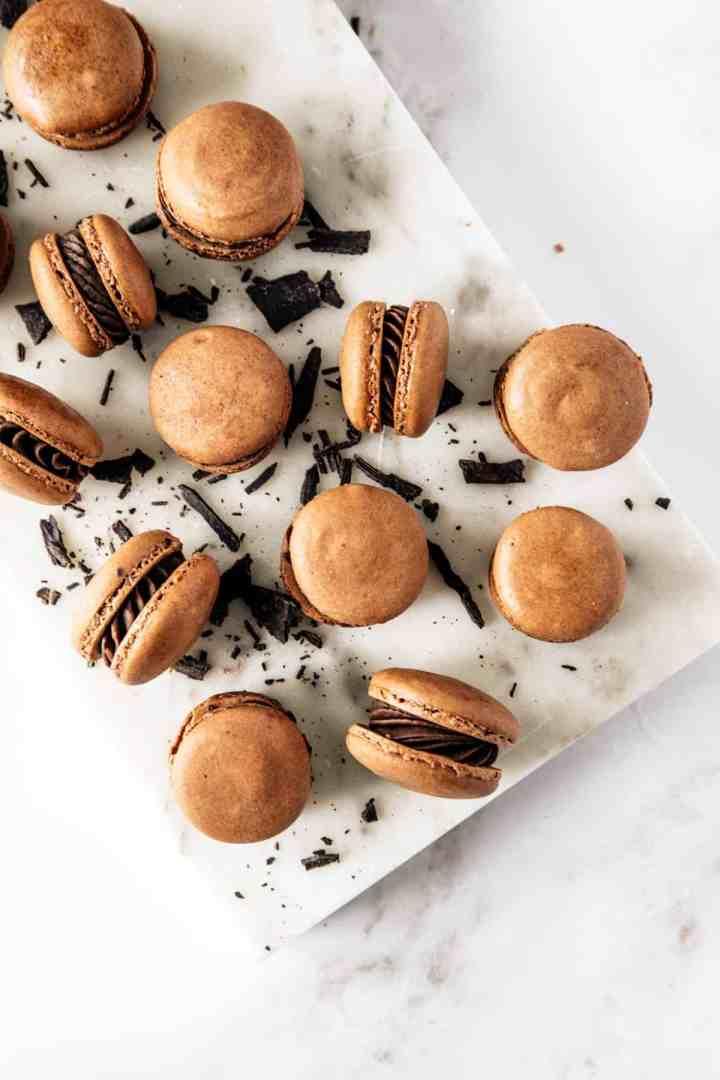 Pumpkin Butter Dark Chocolate Ganache Macarons