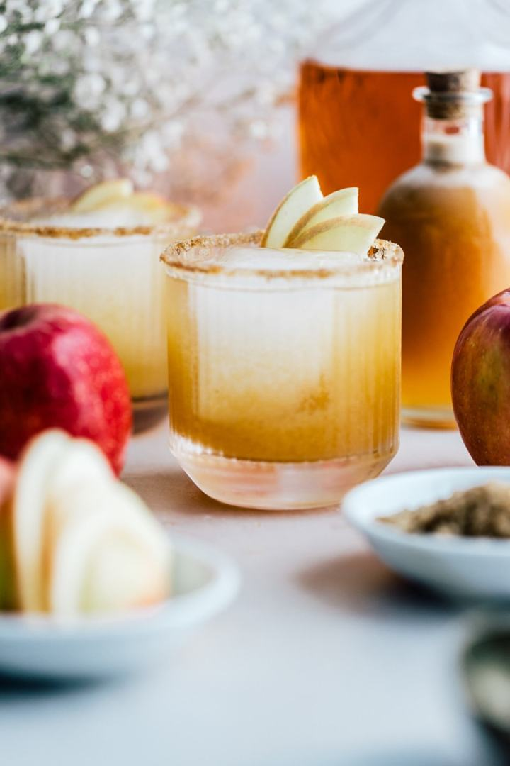 Spiced Apple Brandy Cocktail in a cocktail glass