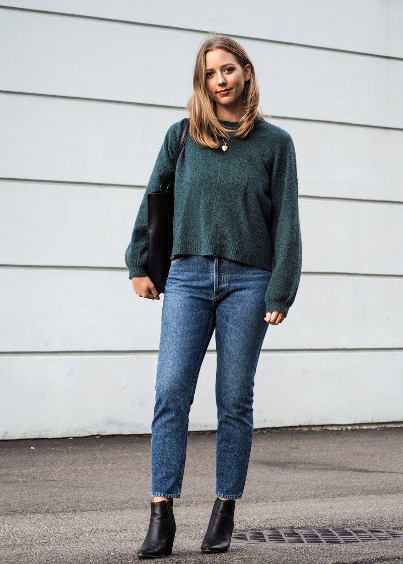 Fall Outfit Inspiration - Cozy Sweater, Denim & Ankle Boots